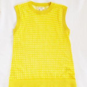 J. Crew Yellow w/white polka dot sweater